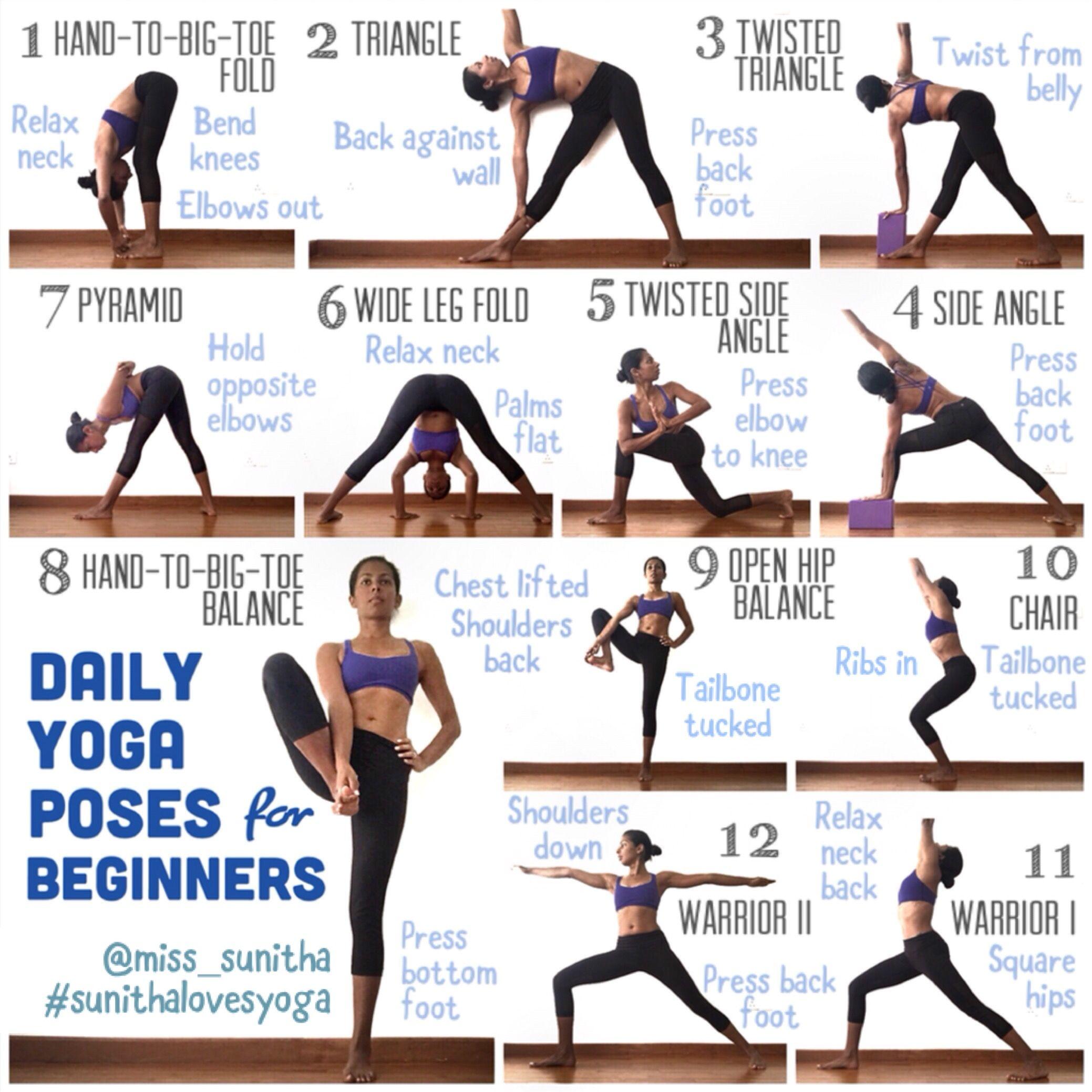 Daily Yoga Poses For Beginners Miss Sunitha Sunithalovesyoga Basic Yoga How To Do Yoga Yoga Tutorial