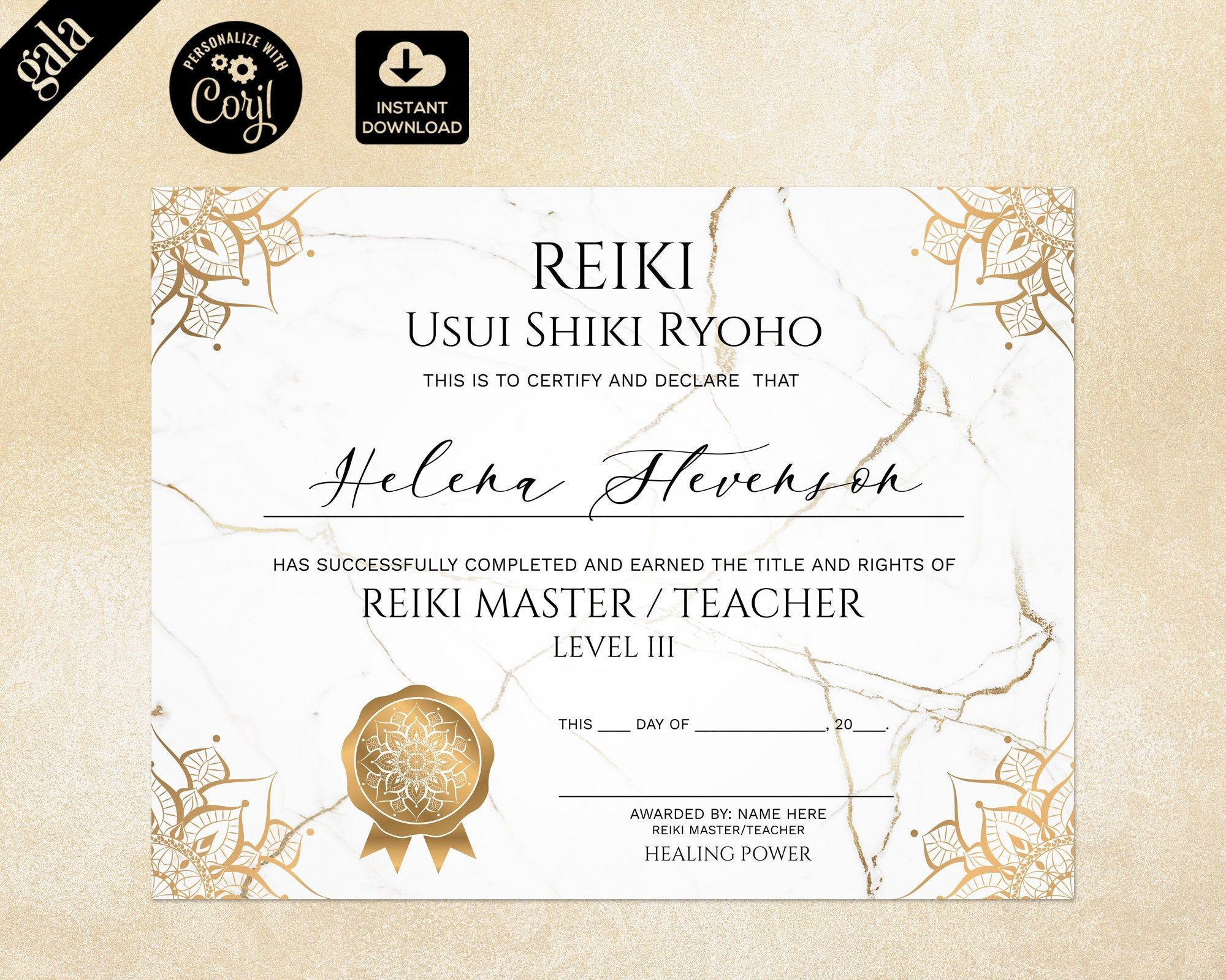 Reiki Certificate Template Reiki Certificate Printable Yoga Etsy In 2021 Soap Labels Template Certificate Templates Custom Soap Labels Reiki certificate template free download