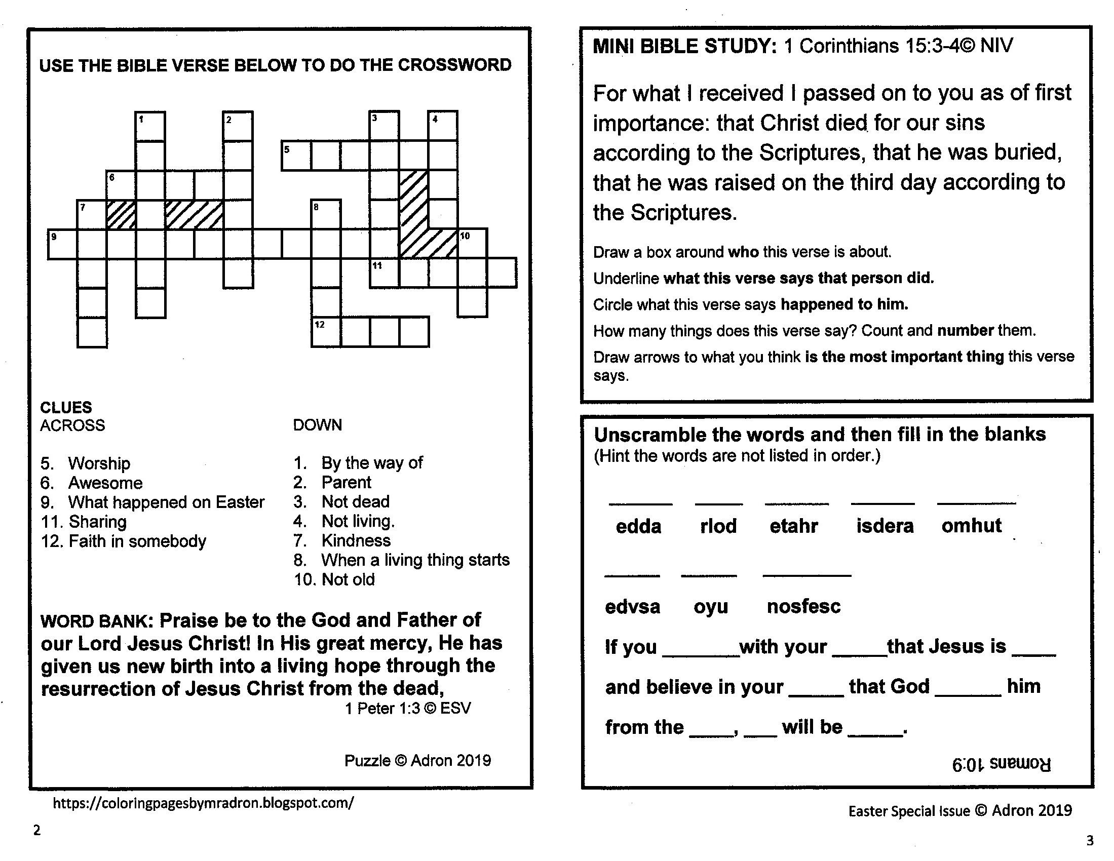 Free Easter Bible Themed Activity Printable