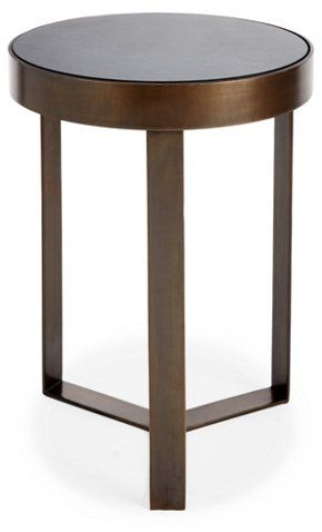 Sabine Side Table, Granite/Brass - Side Tables - Living Room