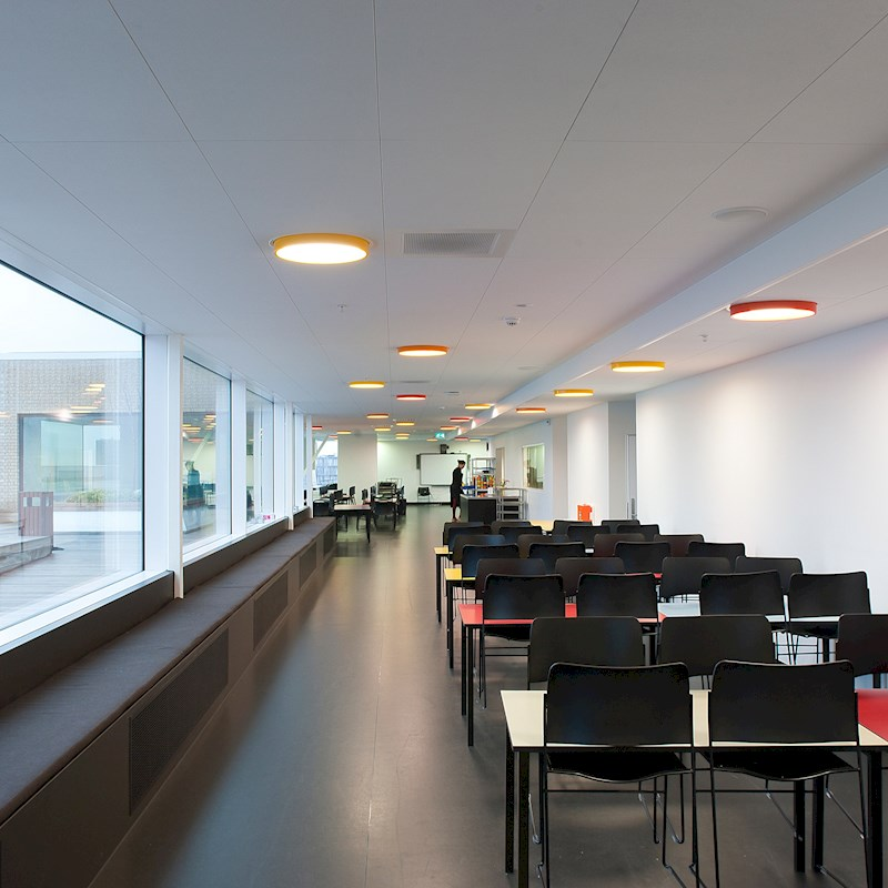 CEILING MOUNTED COLORFUL LIGHTING IN MEDIA CENTER