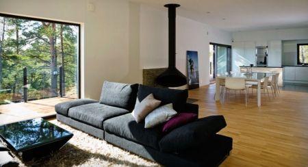 maison en bois moderne nexthouse, vue sur m6 capital ... - Salon Salle A Manger Contemporain