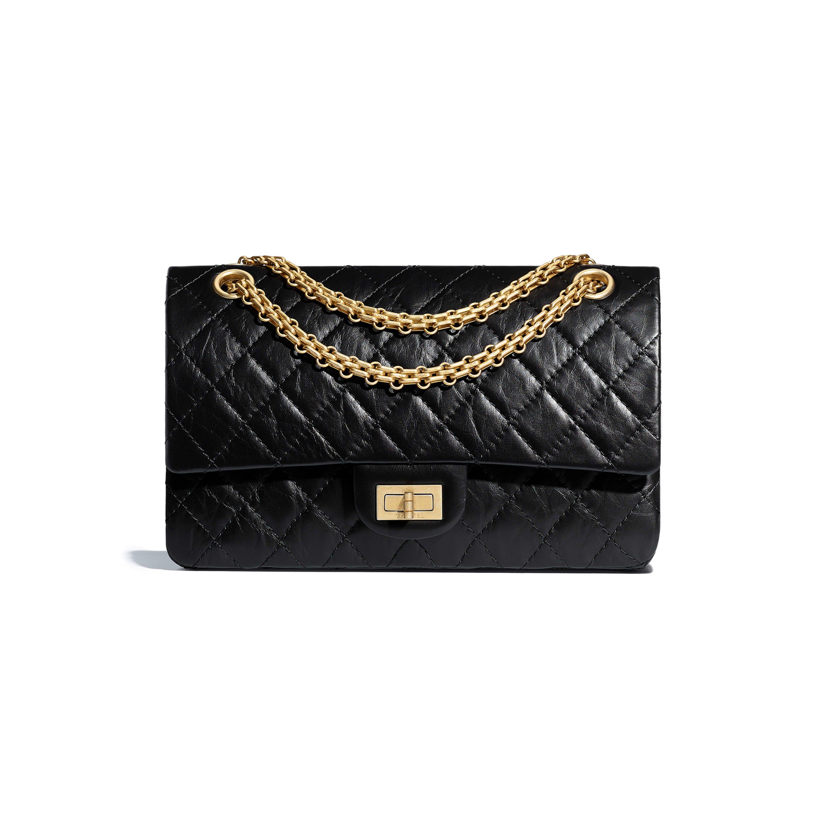 d8cc22df13 Aged Calfskin & Gold-Tone Metal Black 2.55 Handbag   Accessories ...