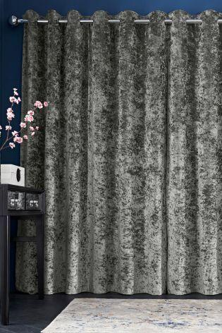Buy Grey Crushed Velvet Eyelet Curtains   110 557 | Next UK