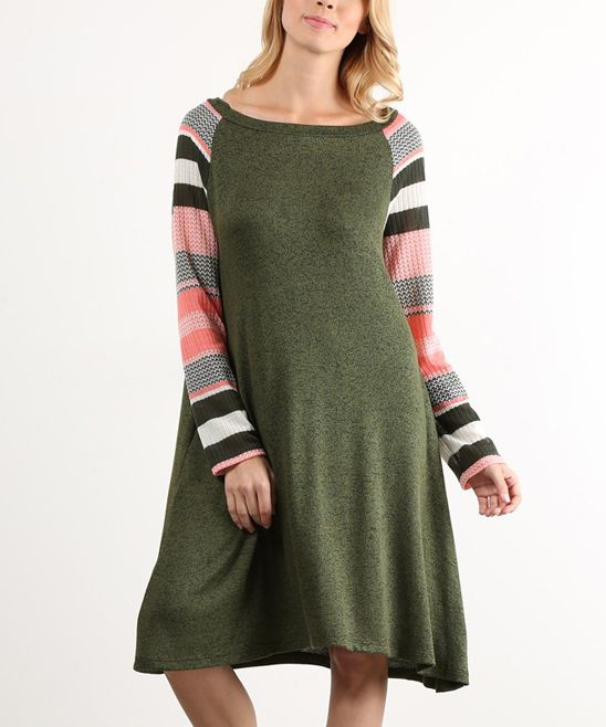 Olive Stripe-Sleeve Shift Dress