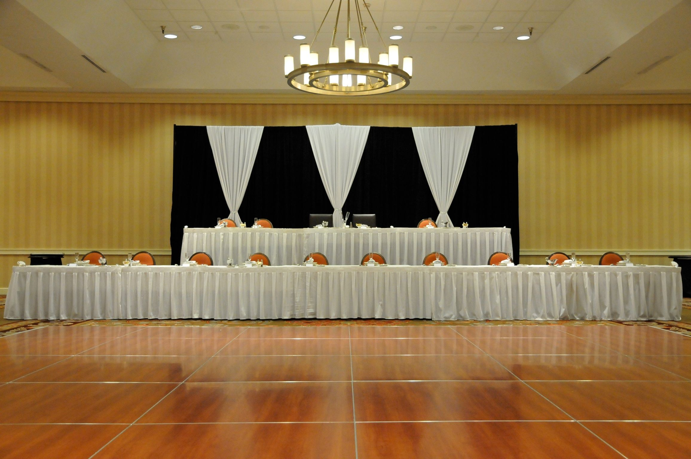 Wedding head table and backdrop