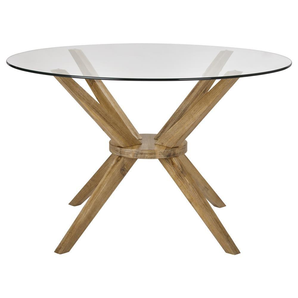 Table de salle à manger ronde en bois d\'acacia et en verre | Fun ...
