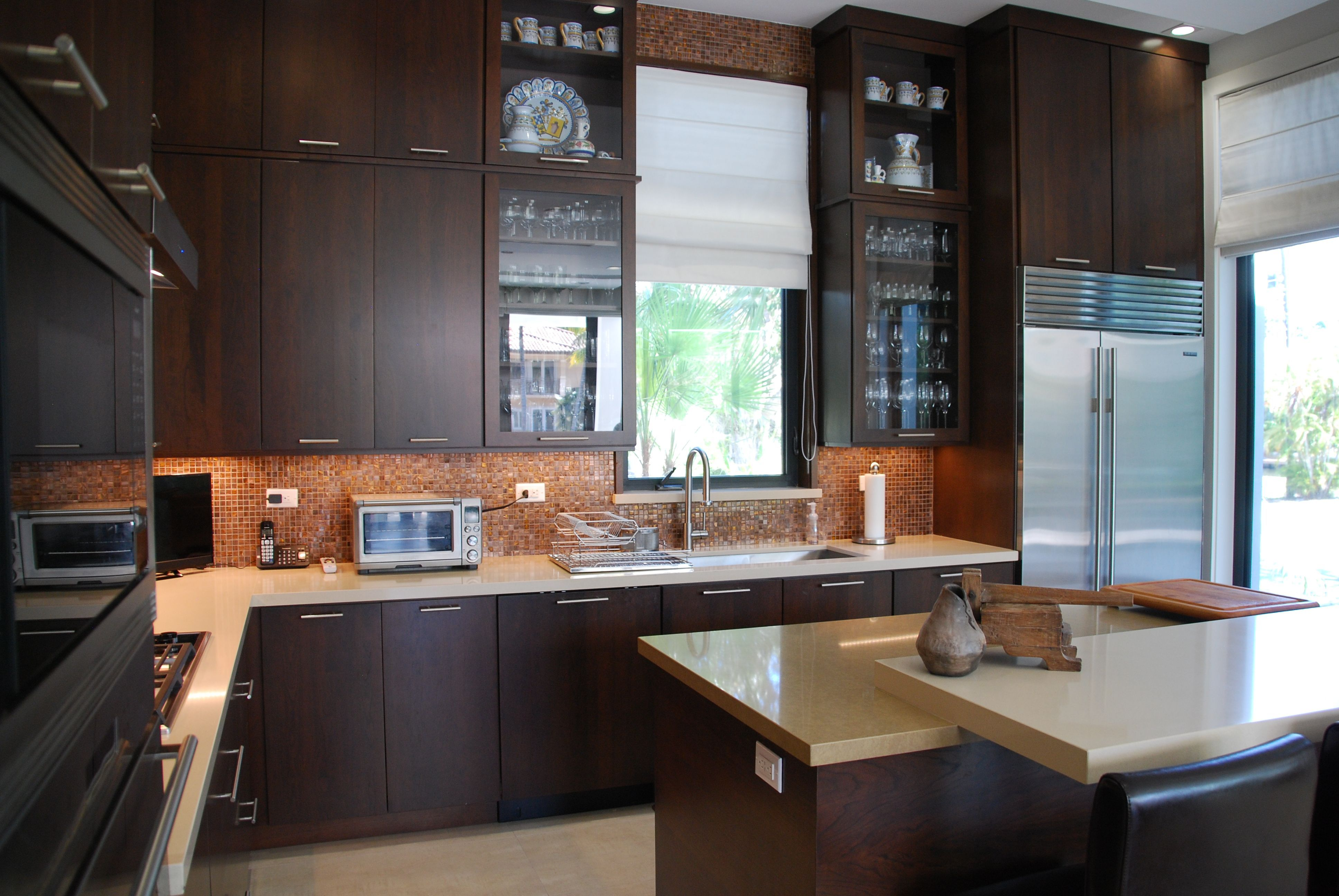 Dark Cabinets With White Countertops Is Always A Good Choice Call Us At 305 234 1990 In 2020 White Countertops Dark Cabinets Countertops