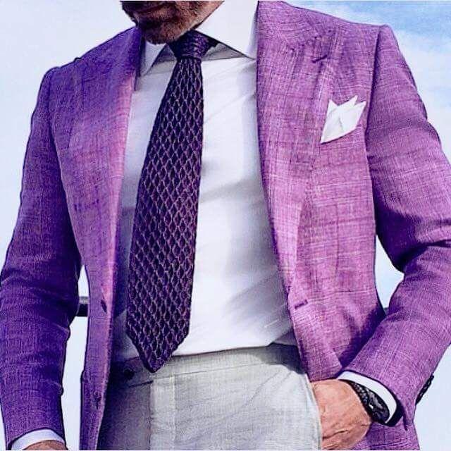 Violet Summer Jacket, White Dress Shirt, Purple Tie, Light Gray Pants/Trouser   Men's Fashion   Menswear   Men's Outfit Idea for Summer Weddings   Moda Masculina   Shop at DesignerClothingFans.com