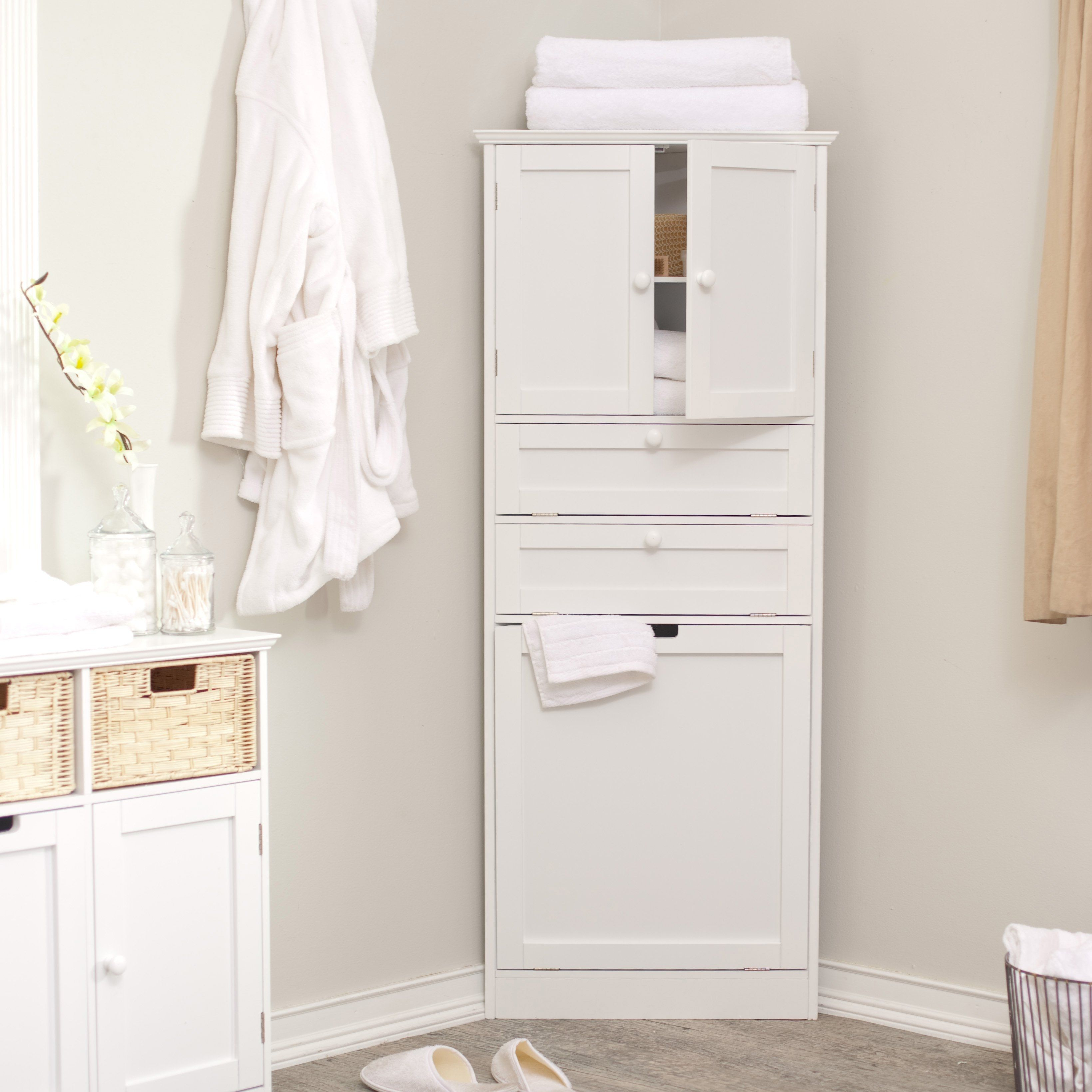 Bathroom Cabinet With Hamper Corner Storage Cabinet Bathroom Corner Cabinet Corner Linen Cabinet