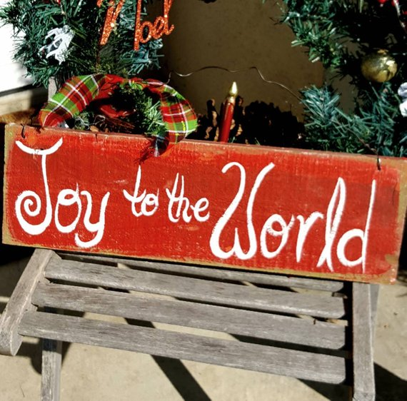 Outdoor Christmas Decor Front Porch Sign Primitive Joy To The
