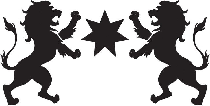 STAR 7POINT BETWEEN 2 LIONS RAMPANT SILHOUETTE logo by
