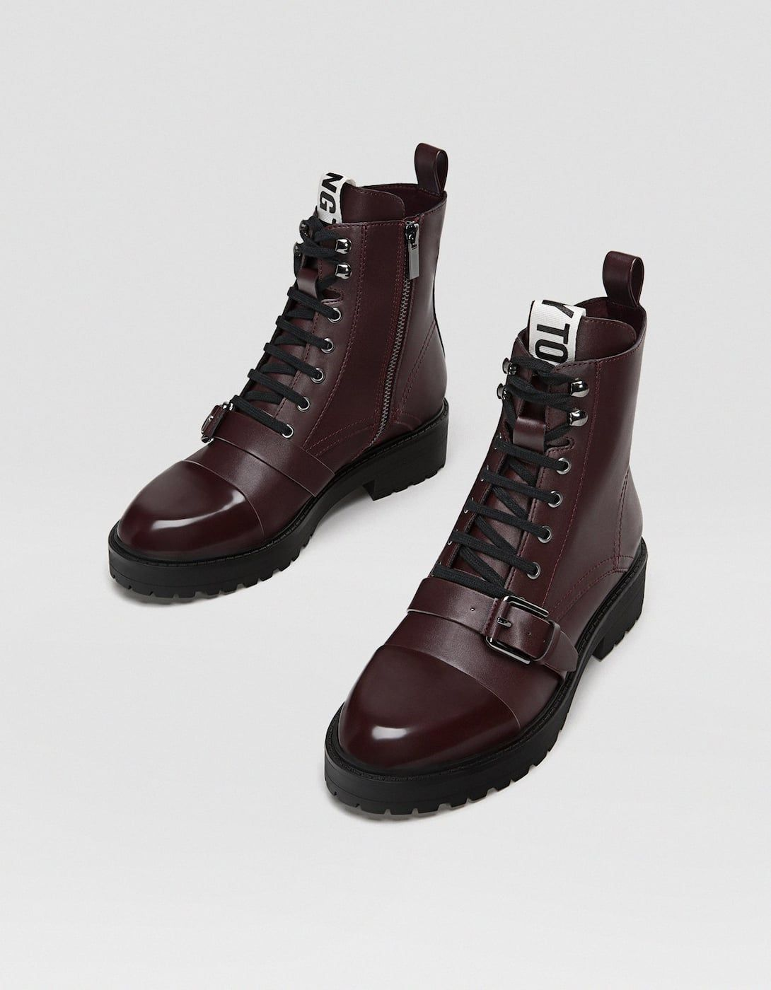 d8adfe389c3d0d Maroon lace-up biker ankle boots - Boots and ankle boots