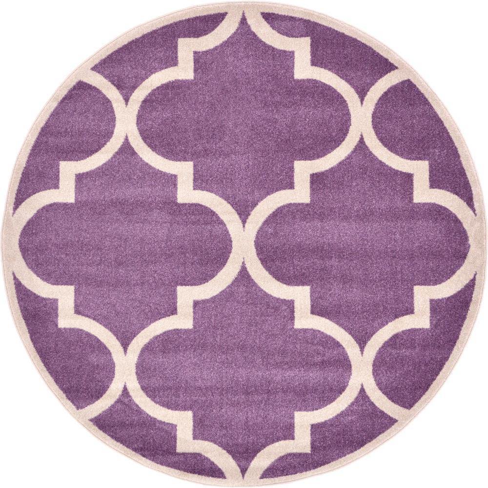 Trellis Purple And Ivory 6 Ft X Round Area Rug