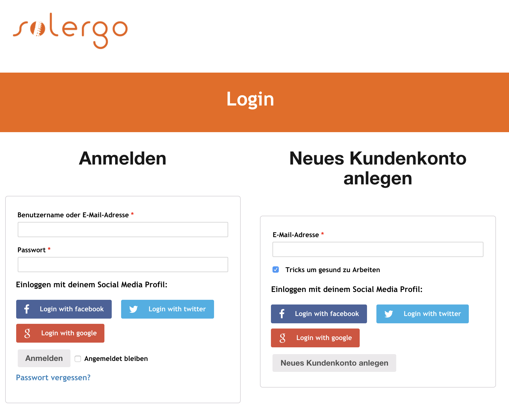 Login mit Social Media bei solergo.ch | Soziale medien