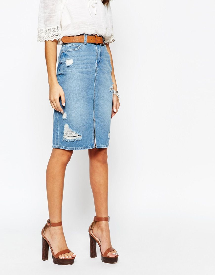 New Look | New Look Denim 70's Split Front Pencil Skirt at ASOS ...