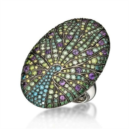 Masterpiece by Carlo Palmiero - painting in gemstones - Designer Jewelry / Pavé Gem Ring