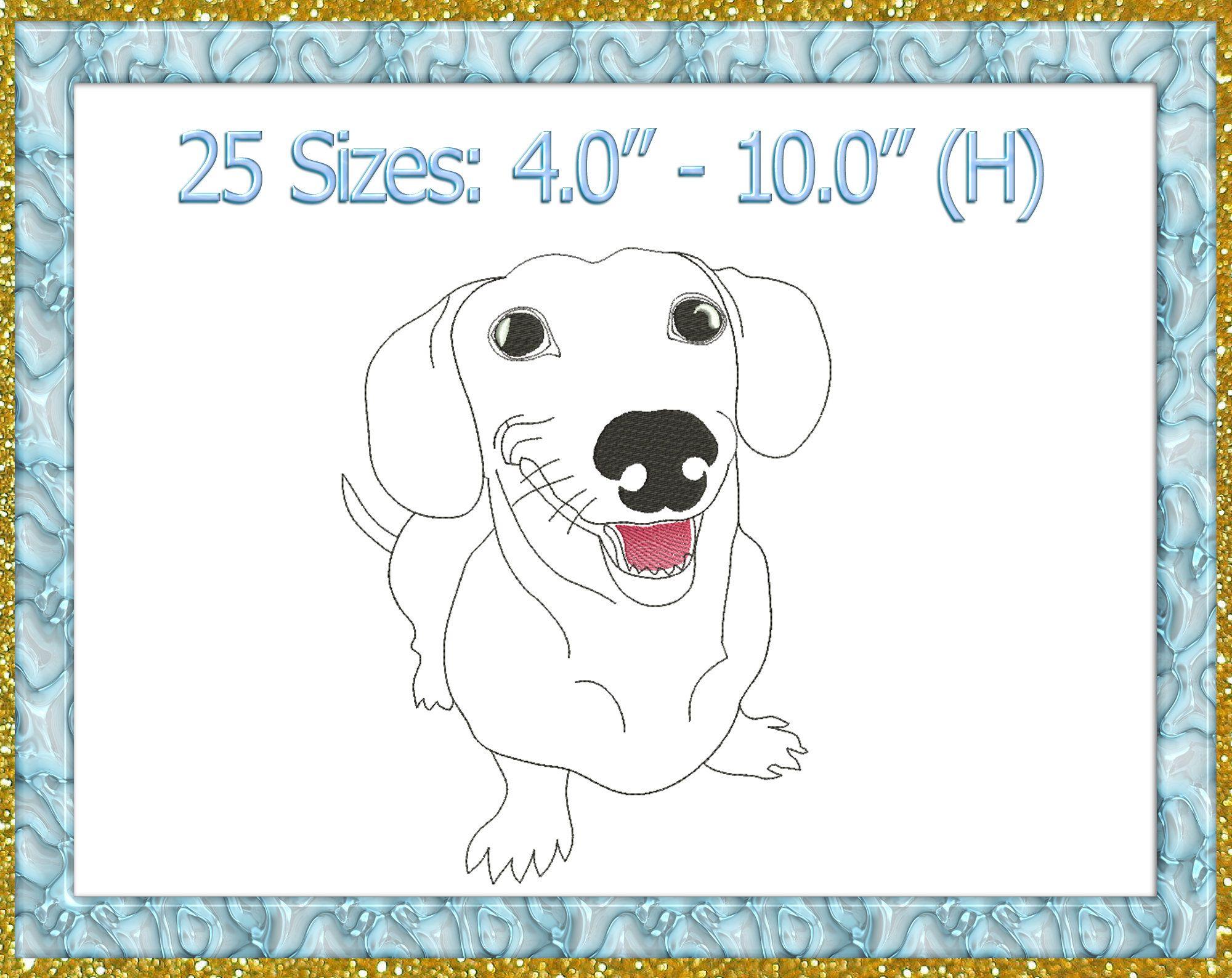 Dachshund Embroidery Design Dachshund Machine Embroidery Design Dog Pug Embroidery Pet Embroidery Pet Embroidery Design Pets Pes 520 In 2020 Animal Embroidery Designs Embroidery Designs Machine Embroidery Designs