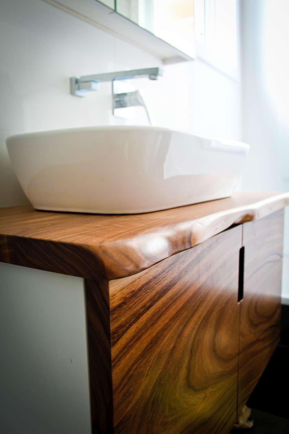 Brighten Your Bathroom With Custom Made Wood Vanity Tops Matching Mirrors And Even A Unique Handmade Timber Bath All From Solid Australian Timbers
