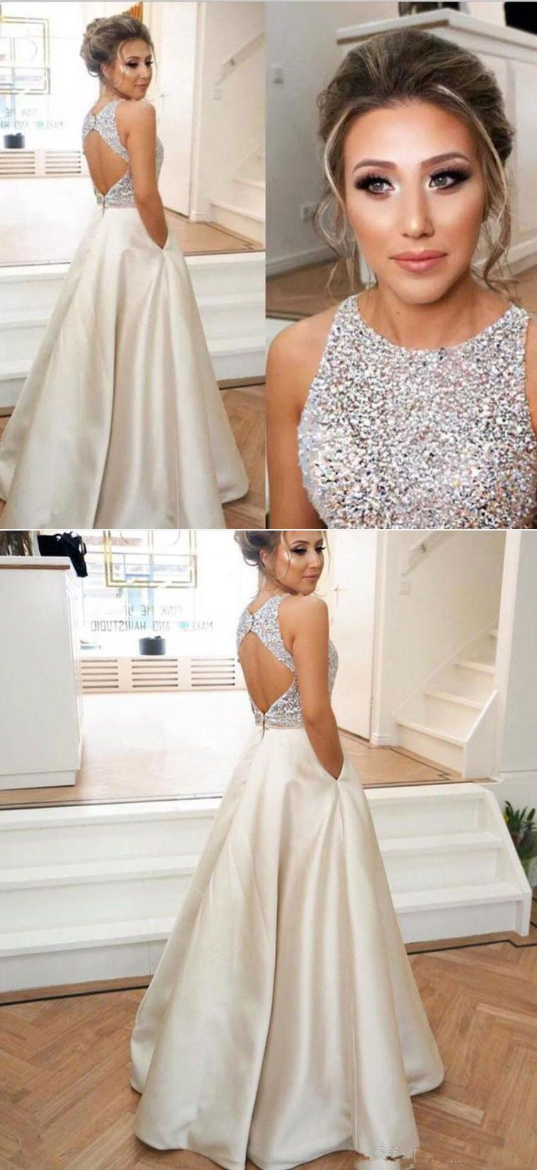 Open back prom dresses long prom dresses beaded prom dresses with