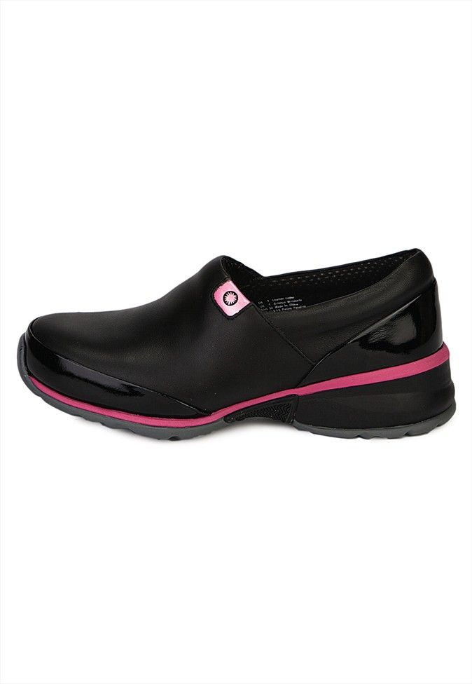 Akesso Black With Patent Pink Trim Slip On Womens Nursing Shoe