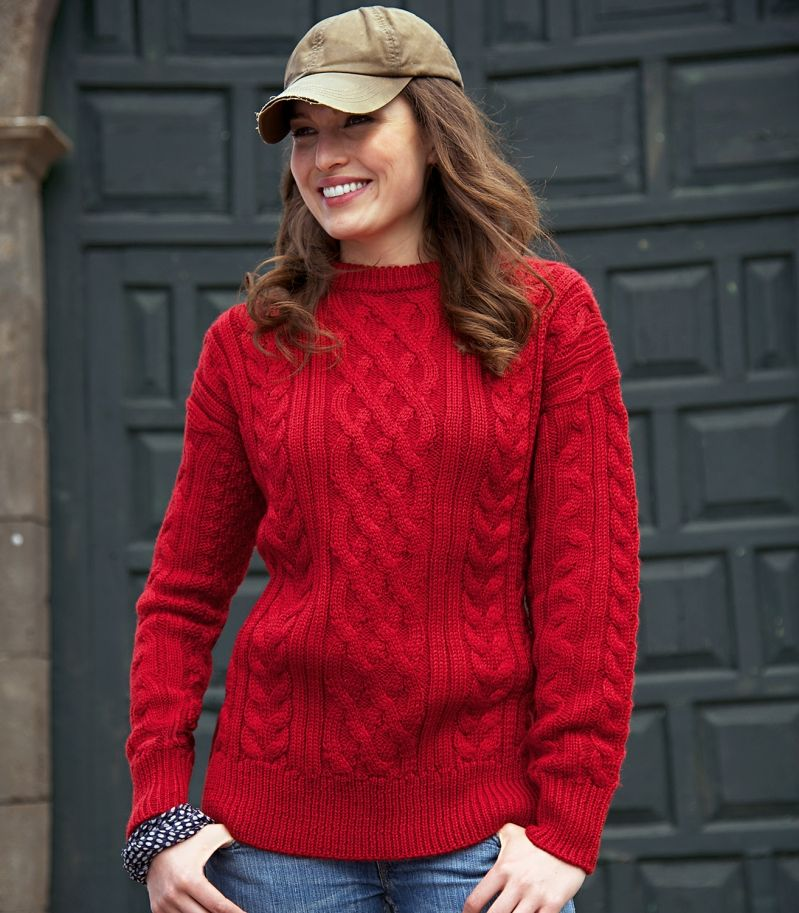 Lovely and warm :) Red Aran Jumper Wool Overs Australia ...