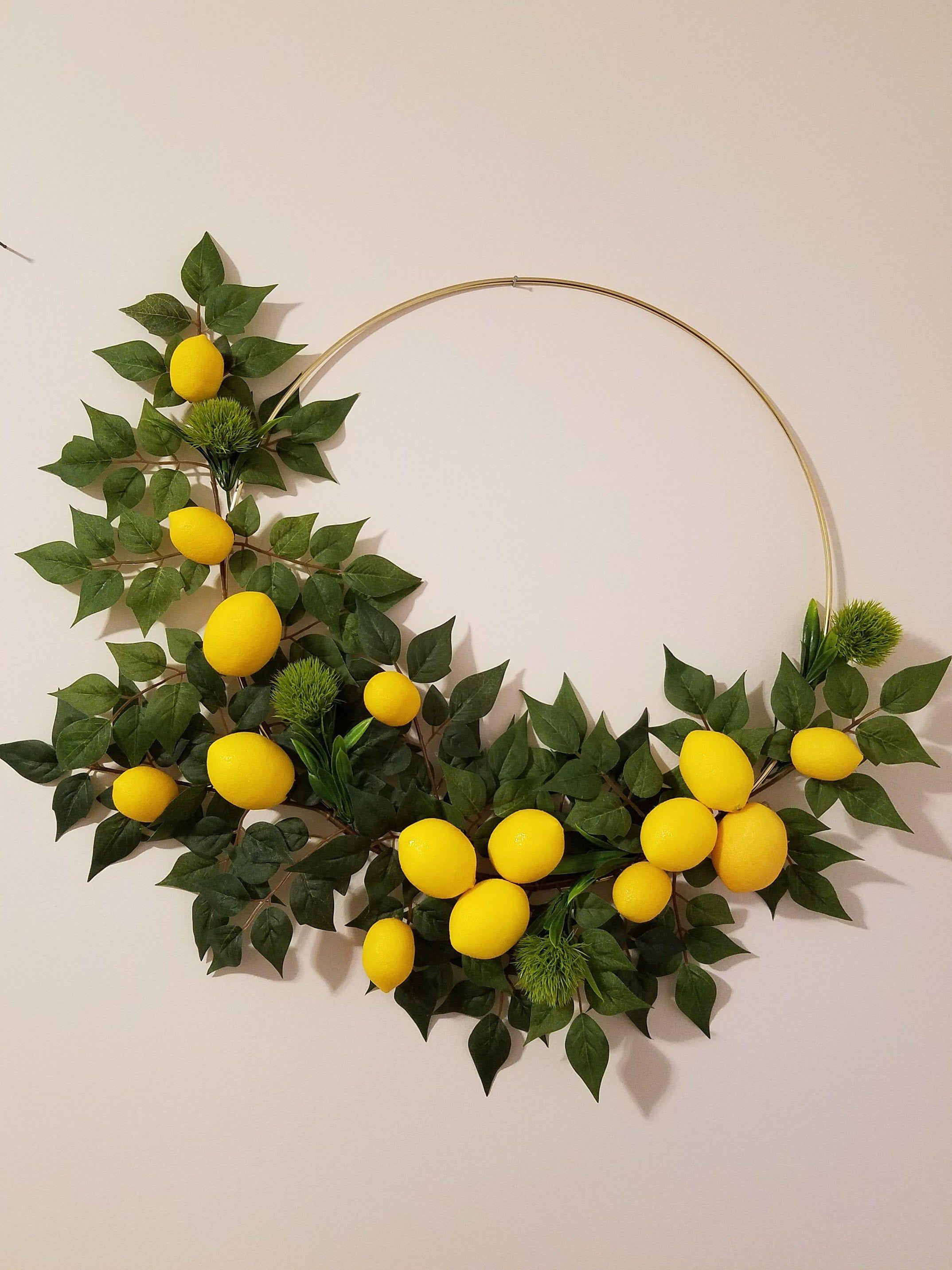 Photo of Modern tire wreath, lemon wreath, interior and exterior wreath, modern wall decor. Wreath for door, summer wreath, lemon decor, ring wreath