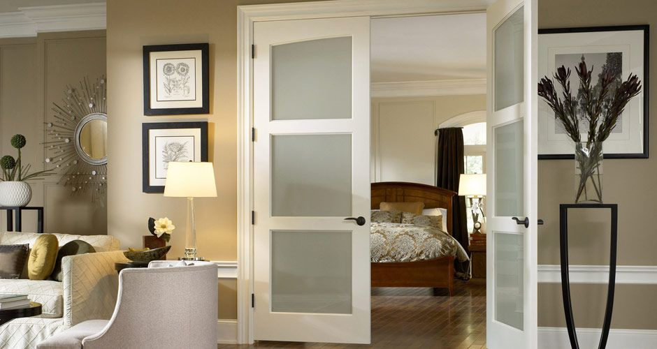 Handsome Privacy Glass Doors Can Partition Off A Large Room Yet
