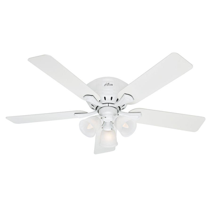 Hunter Reinert 52 In Snow White Indoor Flush Mount Ceiling Fan With Light Kit