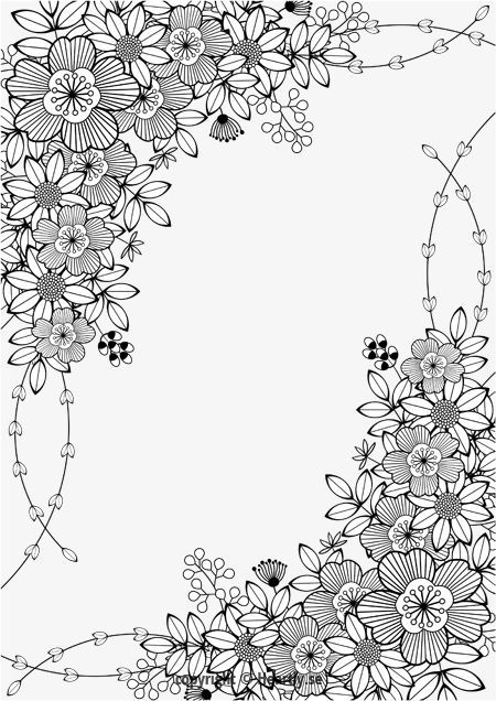 Floral Border Kleurpboek Coloring Page Book