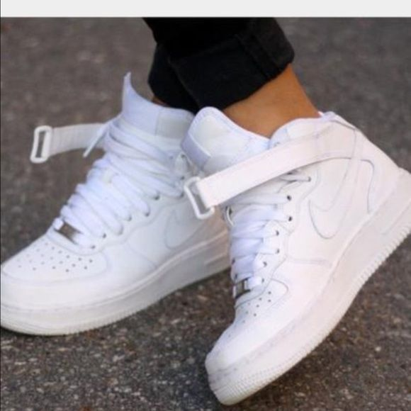 all white high top forces