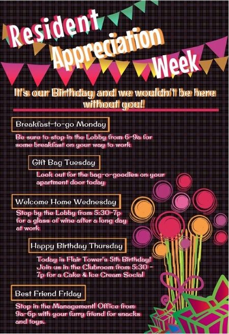 Resident Appreciation Week 2015 Google Search Apartment Management Resident Events Ideas Apartments Apartment Marketing