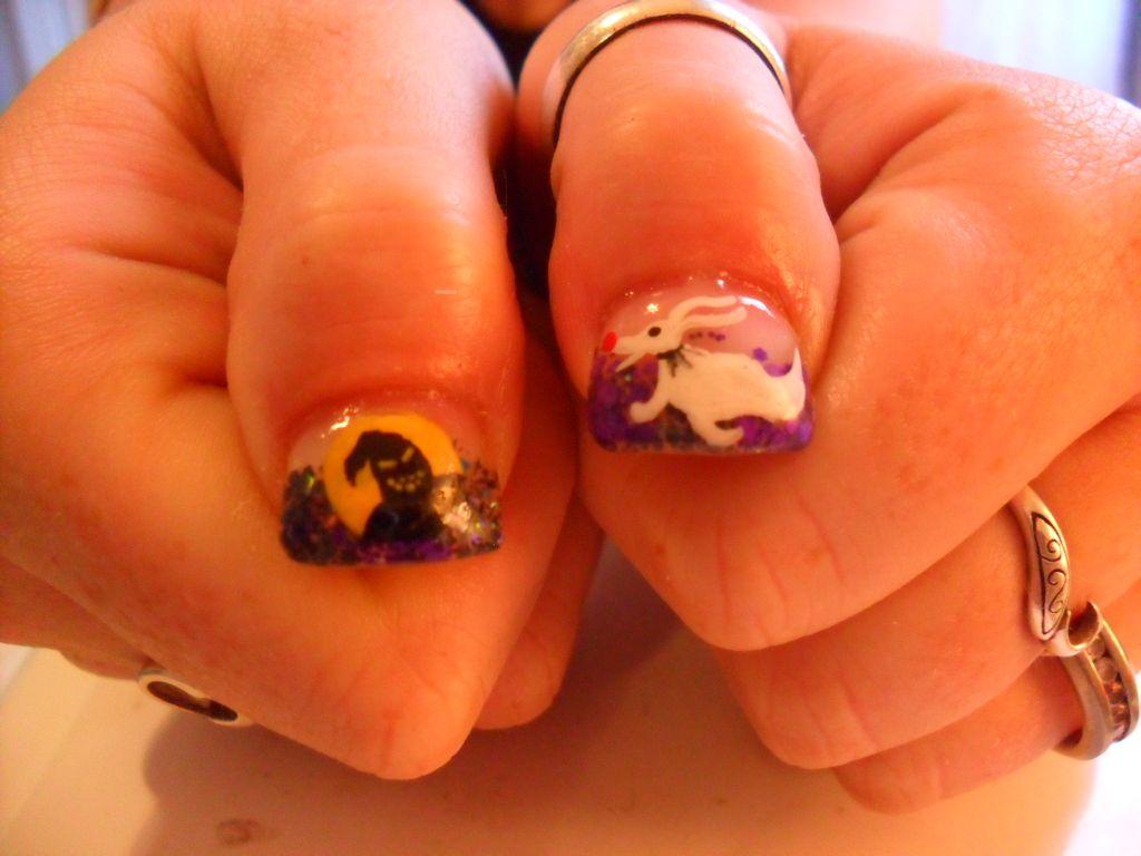 Nightmare Before Christmas nail art design - acrylic nails purple ...