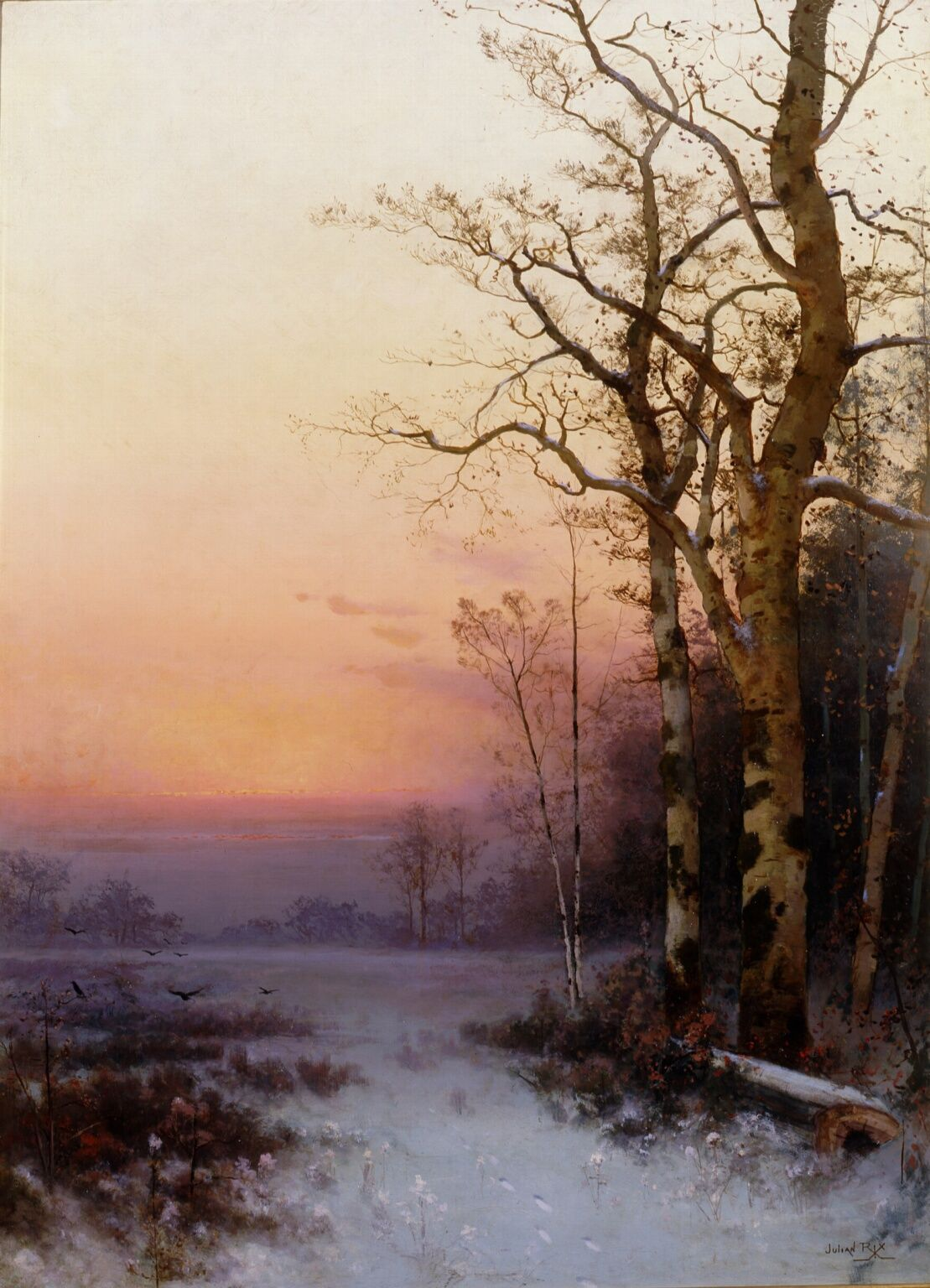 Julian Rix Untitled Winter Twilight C 1880 Winter Landscape Painting Landscape Art Landscape Paintings