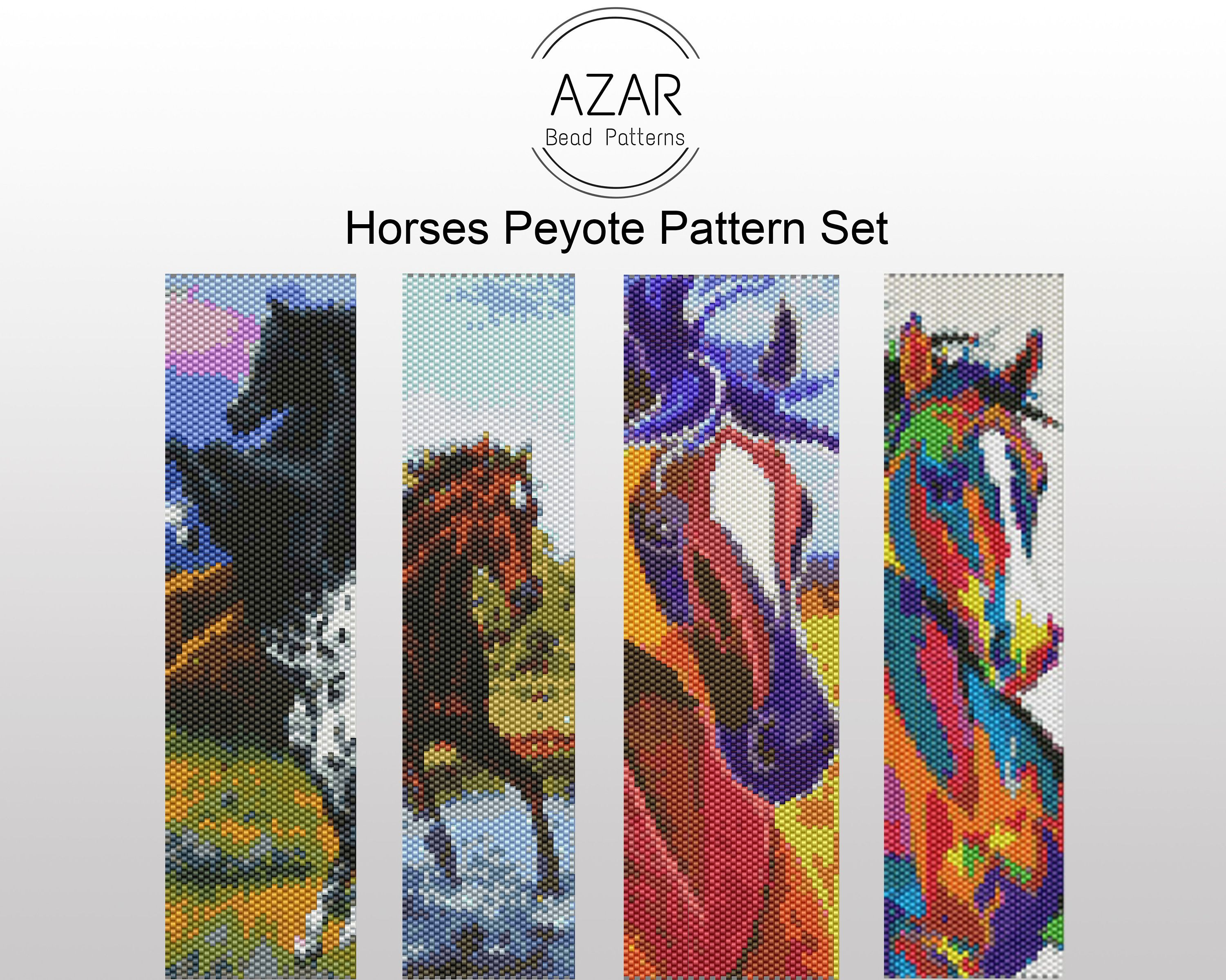 Horses Peyote Pattern Set | Horse Animal Bead Bracelet Pattern | Nature Pendant Pattern | Even Count Peyote Pattern | Wild Horse Pattern #horsepattern