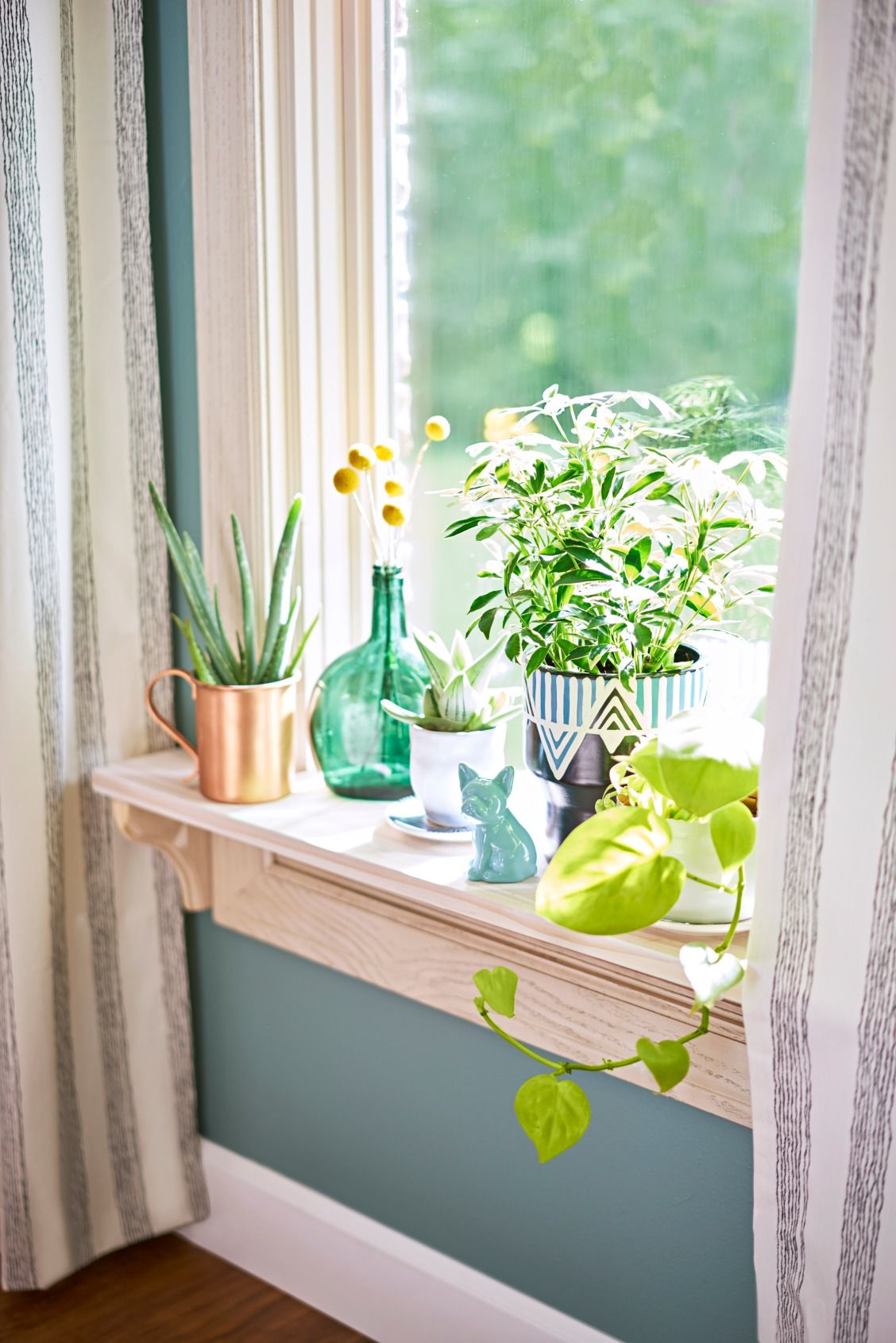Bring The Outdoors In A Windowsill Is The Perfect Spot For A Mini Garden Display Bright Plants In Pretty Colorful Contai Window Sill Decor Decor Ledge Decor