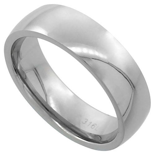 surgical steel plain wedding band thumb ring 6mm domed