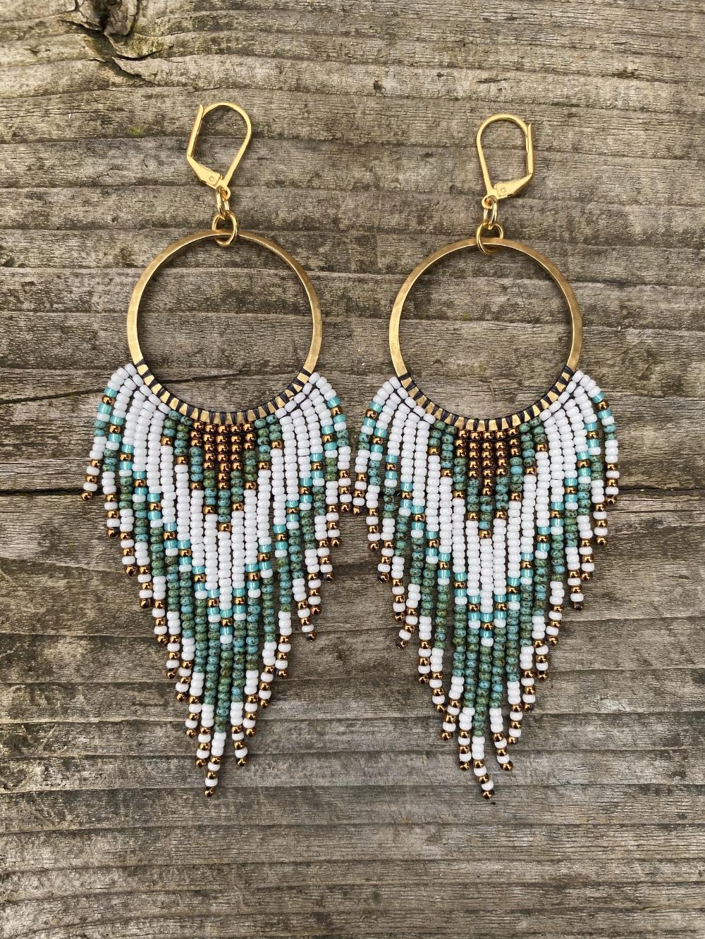 Unique Artisan Earrings Blue Gold Beaded Earrings One of a Kind Accessory Seed Bead Earrings Etched Glass Bead Earrings Bridal Earrings