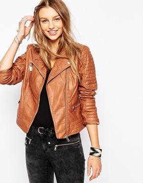 4f4c7f7f855419 Pimkie Leather Look Biker Jacket at asos.com  leatherjacket  pimkie  covetme