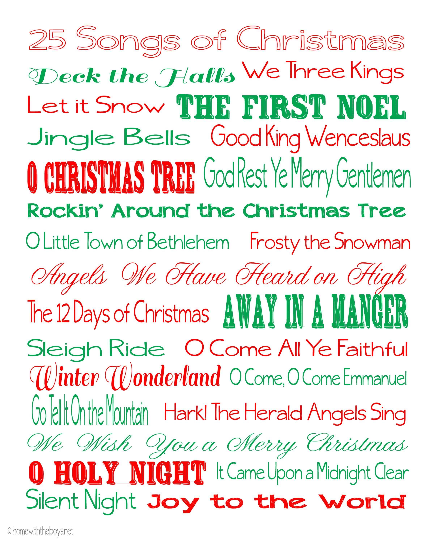 25 Songs of Christmas Free Printable Sacred & Secular