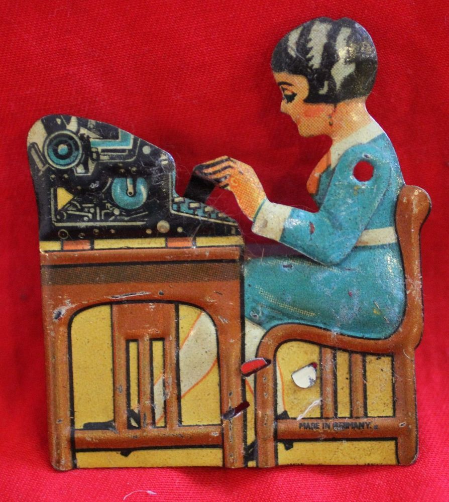 Vintage Mechanical Tin Lady Typing Clicker Made in Germany