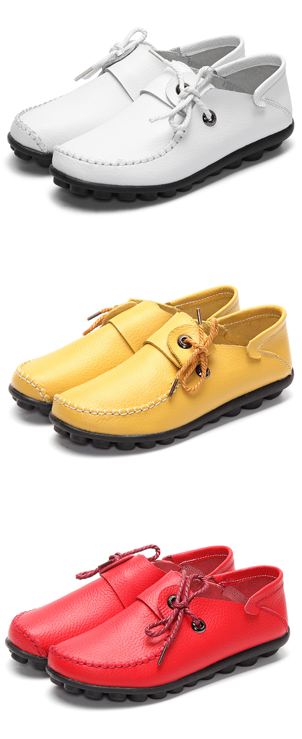 8a71329158 US$18.23 Big Size Leather Lace Up Loafers Flat Casual Shoes For Women