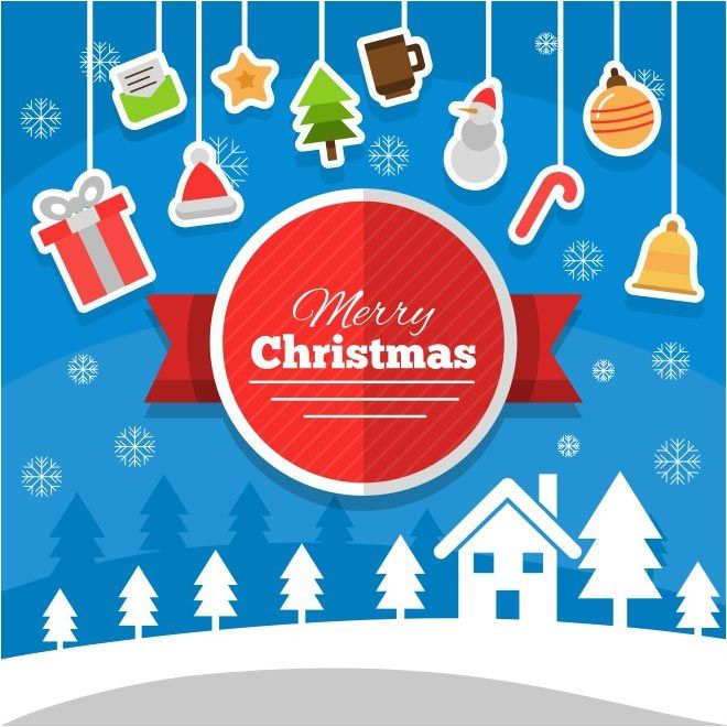 christmas background with hanging elements free vector