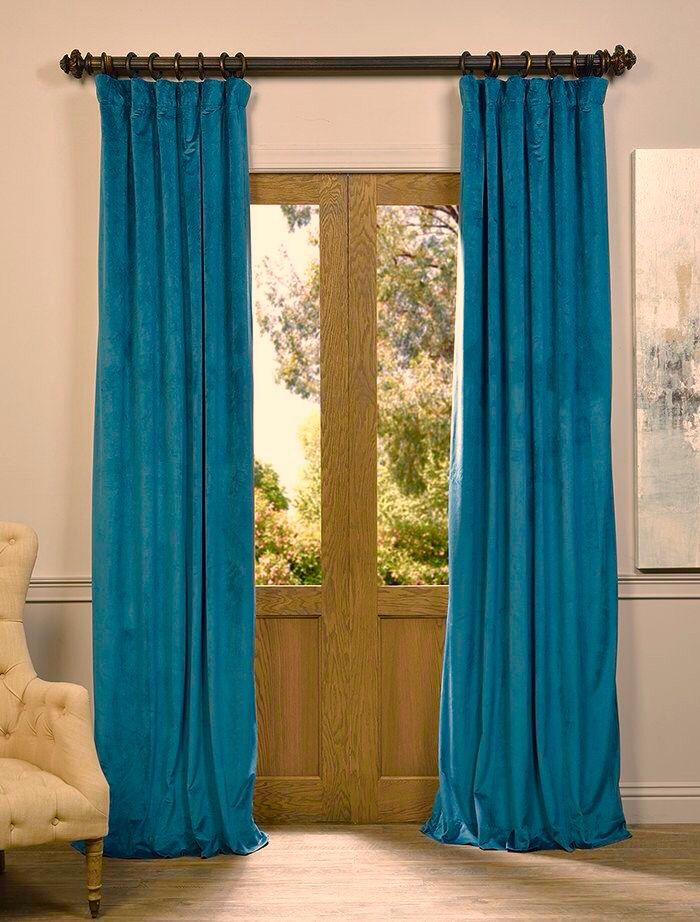 blackout pocket teal turquoise canada pole curtain curtains blue