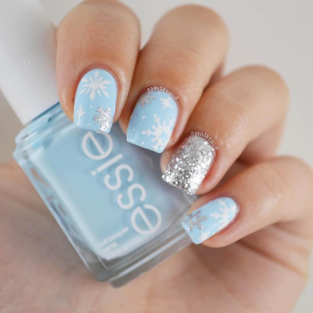 Baby blue snowflake nails in 2019