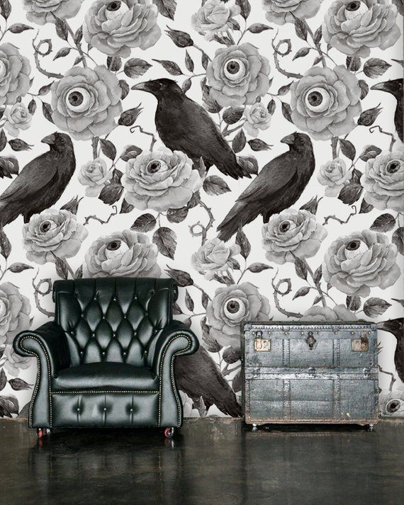 Raven wallpaper, print painting wallpaper, wall decal