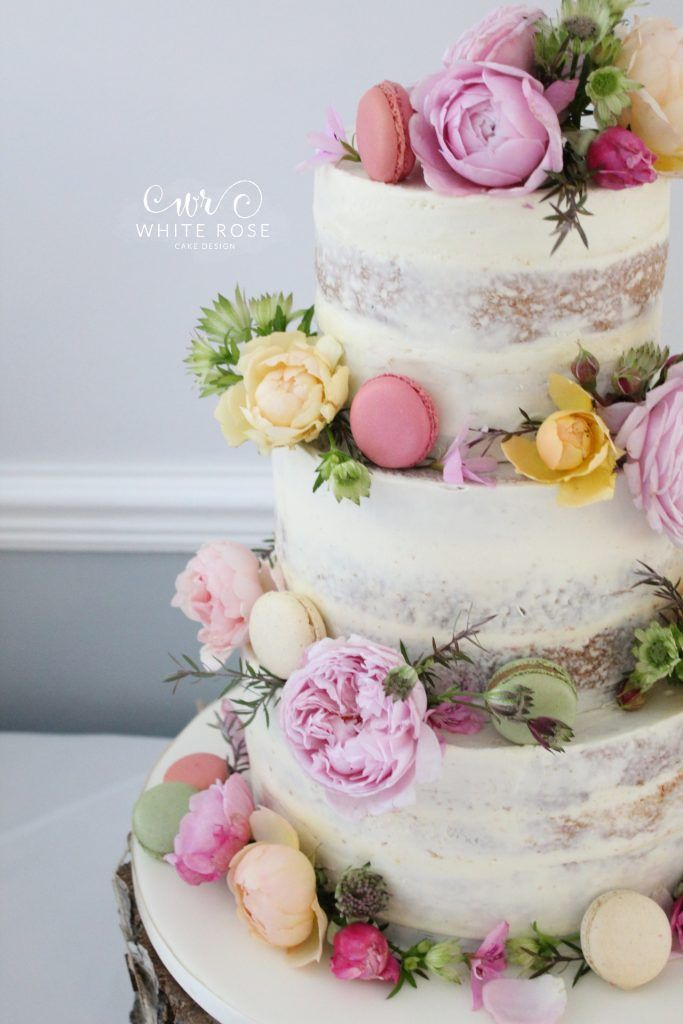 Fl Semi Wedding Cake With Fresh Floweracarons In Bright Colours At Durker