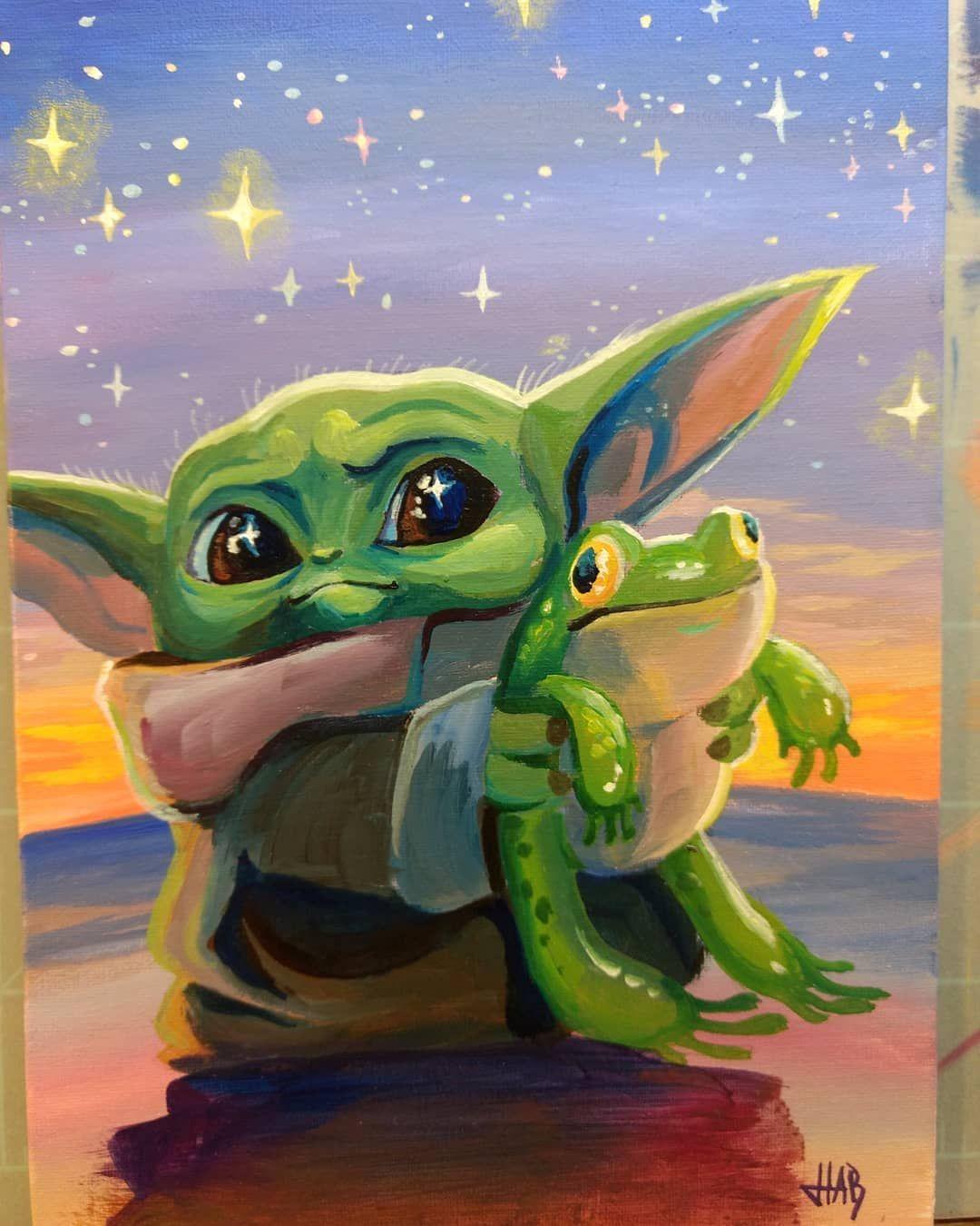 Froggy Friend Babyyoda Yodababy Thechild Themandalorian Mando Yoda Starwars Stars Frog Froggy Paintin Yoda Art Star Wars Painting Yoda Artwork