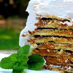 Rogel de dulce de leche.  Dulce de leche layered between crispy wafers and crowned with Italian meringue.  Beautiful.