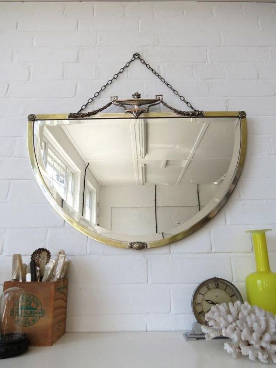 Vintage Large Art Deco Bevelled Edge Wall Mirror With Chrome Br Frame Wow